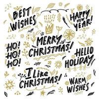 Christmas calligraphy phrases set vector