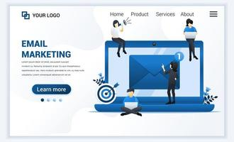 Landing page template of Email marketing, mailing services with people work on laptop. Modern flat web page design concept for website and mobile website. Vector illustration
