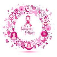 ilustración de banner de cáncer de mama para el mes de concientización de octubre