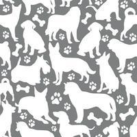 patrón de fondo de perros blancos vector
