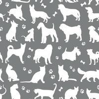 patrón de colores blancos perros y gatos vector