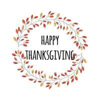 Happy Thanksgiving day card with decorative floral wreath, colorful design. vector