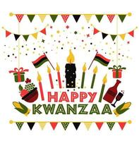 Banner for Kwanzaa with traditional colors vector