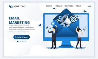 Landing page template of Email marketing services with businessman shout on megaphone for promotion. Modern flat web page design concept for website and mobile website. Vector illustration