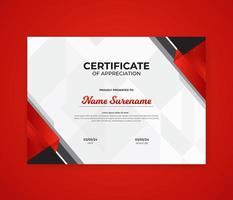 Corporate modern award certificate design template vector