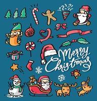 Merry christmas doodle clip art vector