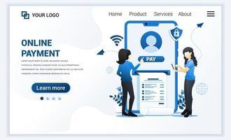 Ilustración vectorial del concepto de pago en línea con mujeres que realizan transacciones de pago. diseño de plantilla de página de destino web plana moderna para sitio web y sitio web móvil. estilo de dibujos animados plana vector