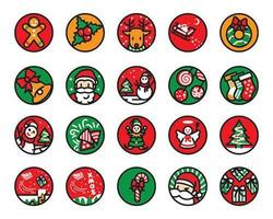 Christmas round icon colored line and flat style set vector