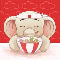 lindo elefante le gusta comer ramen vector