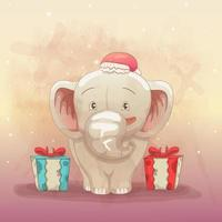 baby elephant happy to get christmas gift