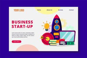 business startup concept landing page template vector