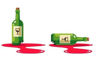 set with a bottle of wine that is smashed vector