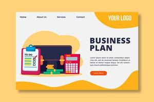business plan concept landing page template vector
