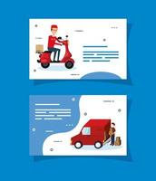 Delivery workers and logistics icons card set vector