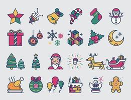 Christmas colored line icons set.