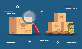 conjunto de banners de entrega y logística. vector