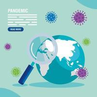 mapa mundial con covid-19, pandemia pandemia vector