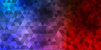 diseño de vector azul claro, rojo con líneas, triángulos.