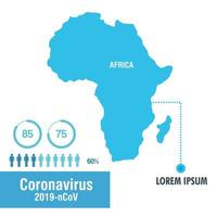 Africa map with covid-19, pandemic banner vector