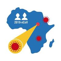 map of Africa with covid-19 information and icons, flat style icon vector