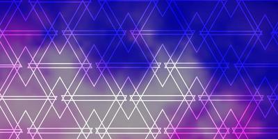 Fondo de vector púrpura claro con triángulos.