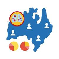 map of Australia with covid-19 information and icons, flat style icon