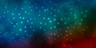Dark Blue, Red vector background with colorful stars.