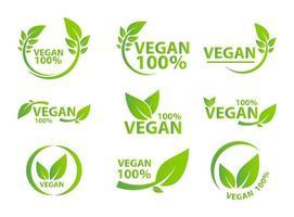 Vegan icon bio ecology set vector