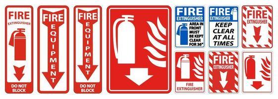 Fire Extinguisher Do Not Block sign set