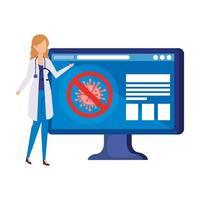 Medicina en línea con médico y computadora de escritorio.