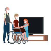 Campaña de quedarse en casa con abuelos con nieta viendo televisión vector