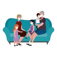 Stay at home campaign with family in the living room