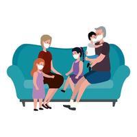 Campaña de quedarse en casa con la familia en la sala de estar. vector