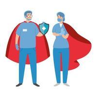 trabajadores de la salud con máscaras faciales como superhéroes vector