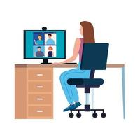Woman in a video conference in the workplace