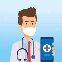 Online medicine technology with doctor and smartphone