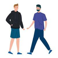 hombres felices caminando juntos vector