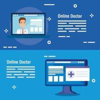 establecer carteles de medicina en línea vector
