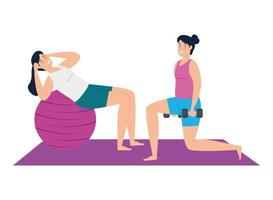 Women exercising together vector