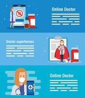 Set online medicine posters vector