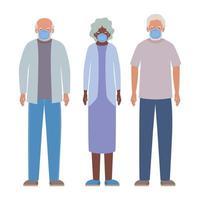Hombres y mujeres mayores con máscaras contra el diseño vectorial covid 19 vector