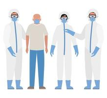 Elder man with mask and doctors with protective suits against Covid 19 vector design