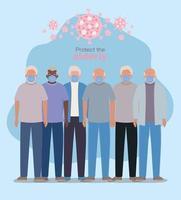 Hombres mayores con máscaras contra el diseño del covid 19 vector