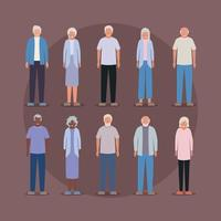 Grandmothers and grandfathers avatars vector design