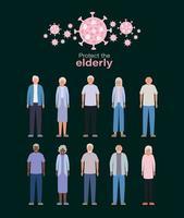 mujeres y hombres mayores contra el diseño vectorial covid 19 vector