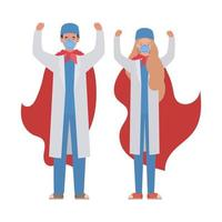 woman and man doctors heroes with capes against 2019 ncov virus vector design
