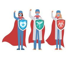 women and man doctors heroes with capes and shields against 2019 ncov virus vector design