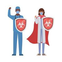 woman and man doctors heroes with cape and shields against 2019 ncov virus vector design
