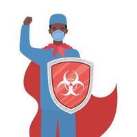 Hombre doctor héroe con capa contra el diseño vectorial de virus ncov 2019 vector