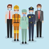 trabajadores masculinos con máscaras contra el diseño vectorial del virus ncov 2019